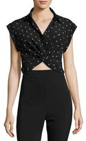 Alexander Wang Collared Knot-Front Crop Shirt, Black Pattern