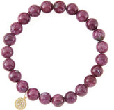 Sydney Evan Jewelry 8mm Natural Ruby Beaded Bracelet with 14k Yellow Gold/Diamond Small Disc Charm (Made to Order)