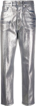 Golden Goose Metallic High Waisted Cropped Trousers