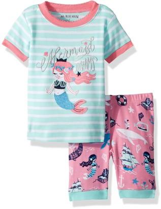 Hatley Little Blue House Girl's Short Sleeve Applique Pyjama Sets