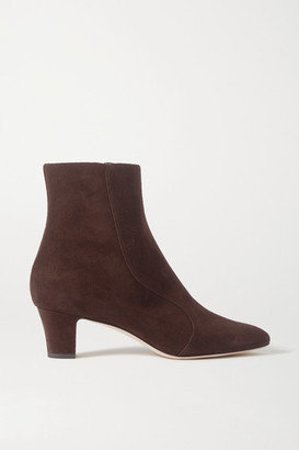 Manolo Blahnik Myconia Suede Ankle Boots - Brown