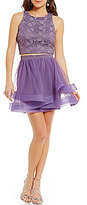 Jodi Kristopher Lace Top to Layered Skirt Two-Piece Party Dress