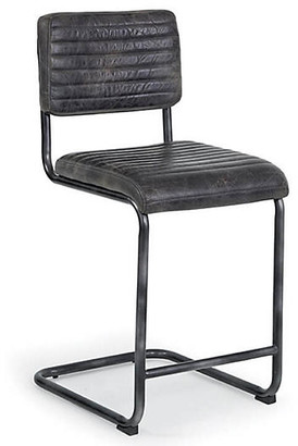 REGINA ANDREW Set of 2 Dylan Counter Stools - Ebony Leather