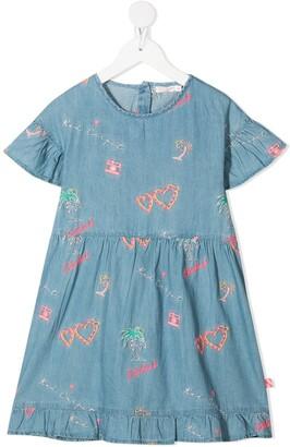 Billieblush Embroidered Motif Denim Dress