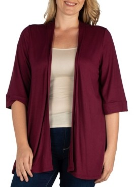 24seven Comfort Apparel Women's Plus Size Open Front Cardigan