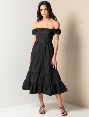 Forever New Angie Cotton Bardot Midi Dress - Black - 10