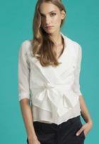 Chris Gramer - Kylie Cropped Silk Jacket in Cream