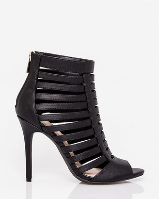 Le Château Faux Leather Peep Toe Cage Sandal
