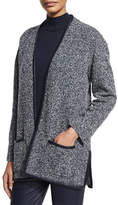 St. John Leather-Trim Boucle Melange Knit Cardigan