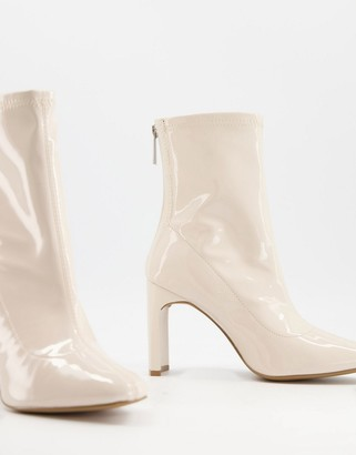 Qupid sock boots in off white