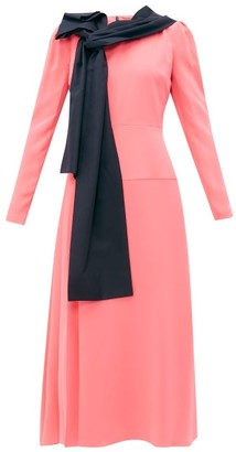 Roksanda Marira Tie-neck Silk Midi Dress - Womens - Pink