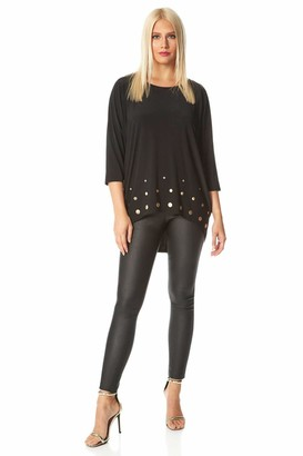 Roman Originals Women Dip Back Stud Embellished 3/4 Sleeve Top - Ladies Smart Casual Party Evening Metal Ring Hem Detail Everyday Stretch Jersey Boxy Loose Relaxed Comfy Tops - Black - Size 12