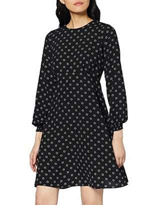 Dorothy Perkins Women's Geo Empire Line Pleat Neck Dress, Black (Black 0), (Size:)
