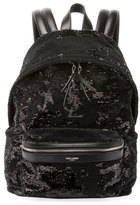 Saint Laurent Mini City Paillette-Embroidered Backpack, Black