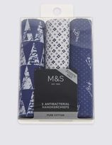 Marks and Spencer 3 Pack Pure Cotton Assorted Handkerchiefs