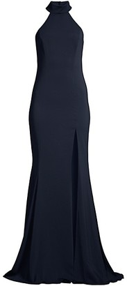 Jay Godfrey Cameo Highneck Crepe Gown