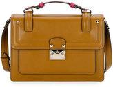 Valentino Cabana Top-Handle Medium Two-Tone Lock Shoulder Bag, Cuir/Fuchsia