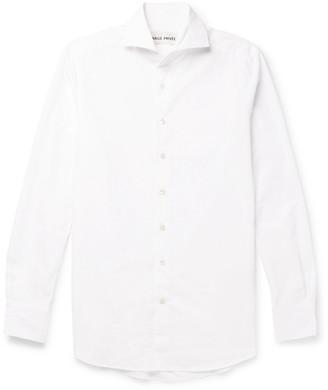 Salle Privée White Evron Slim-Fit Cutaway-Collar Cotton-Poplin Shirt