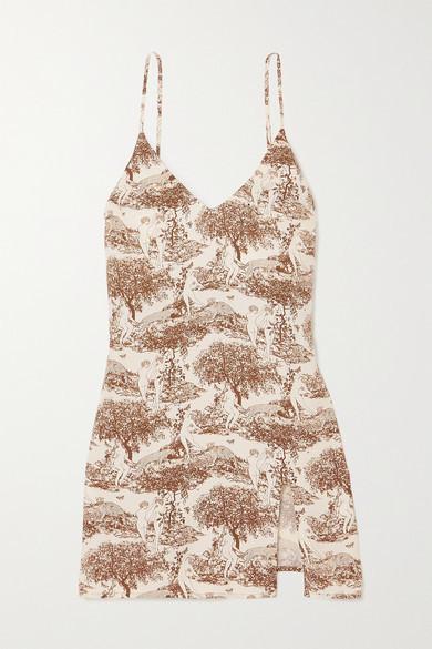 Reformation Marlowe Printed Crepe Mini Dress - White