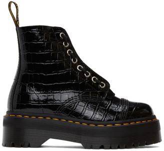 Dr. Martens Black Croc Sinclair Zip Boots