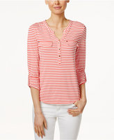 Charter Club Petite Striped Henley Top, Only at Macy's