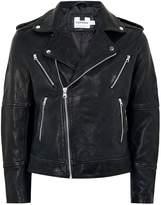 Topman Black Printed Leather Biker Jacket