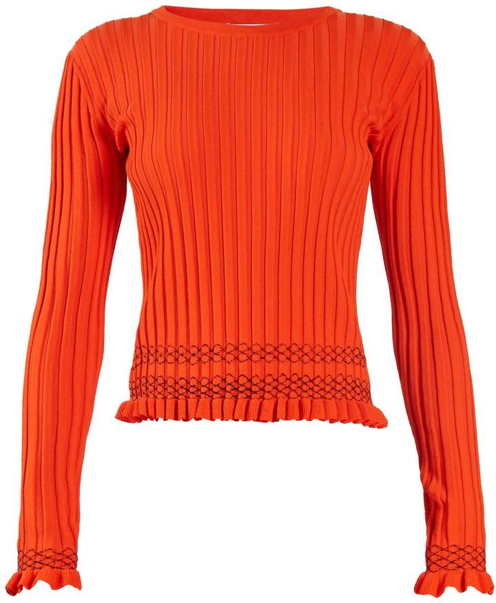 Altuzarra Malou ruffled-cuff ribbed-knit sweater
