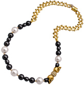 Isabella Collection Devora Libin Jewels Black and White Pearl and Gold Skull Choker Necklace