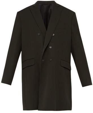 Balenciaga Double-breasted Wool-blend Twill Overcoat - Mens - Dark Green