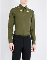 Givenchy Embroidered-neckline Regular-fit Cotton Shirt