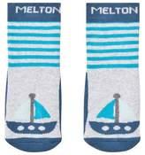 Melton Pearl Grey Melange Boat Socks