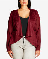 City Chic Trendy Plus Size Draped Faux-Suede Blazer
