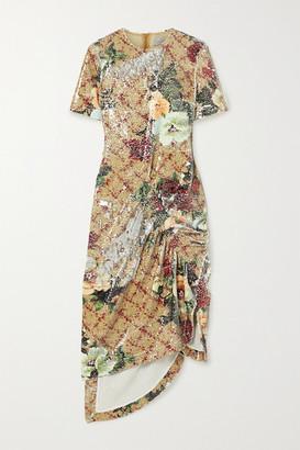 Preen by Thornton Bregazzi Rio Ruched Floral-print Sequined Tulle Midi Dress - Cream
