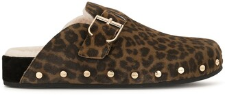 Veronica Beard Fern animal-print sheepskin clogs