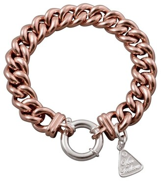 Mocha Silver Rose Gold Plated Small Mama Bracelet W/ Silver Bolt