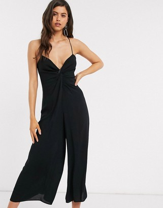 ASOS DESIGN twist front cami jumpsuit with wide leg in black