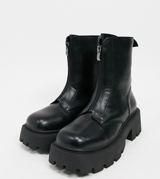 Truffle Collection wide fit front zip boots with exaggerated sole in black