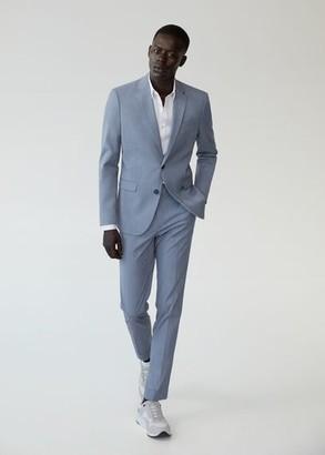 MANGO MAN - Super slim fit microstructure suit blazer sky blue - 34 - Men