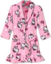 SANRIO Hello Kitty Big Girls Kitty Face Plush Fleece Robe Bathrobe