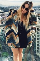 Forever 21 FOREVER 21+ Chevron-Pattern Faux Fur Coat