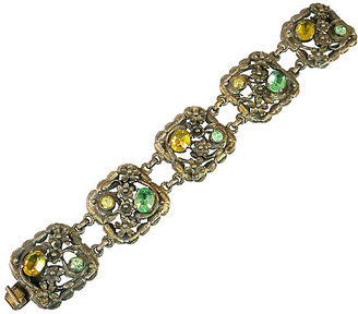One Kings Lane Vintage 1930s Art Deco Pastel Floral Bracelet - Neil Zevnik - silver/green/yellow