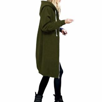 Sanfo Ladies Women Long Sleeve Longline Hoodie Sweatshirts Casual Loose Hooded Coat Zipper Plus Size Tops Shirt Pullover Sexy Warm Autumn Jumper Army Green