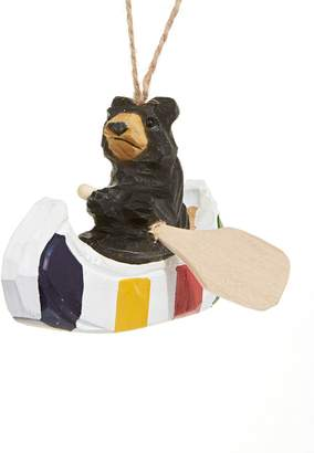 HBC Stripes Bear Canoe Wood Ornament