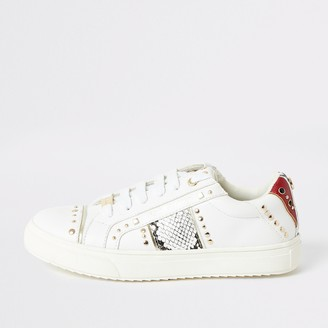 River Island Girls White snake printed studded trainers
