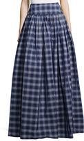 Michael Kors High-Waist Check Full Skirt, Indigo/White