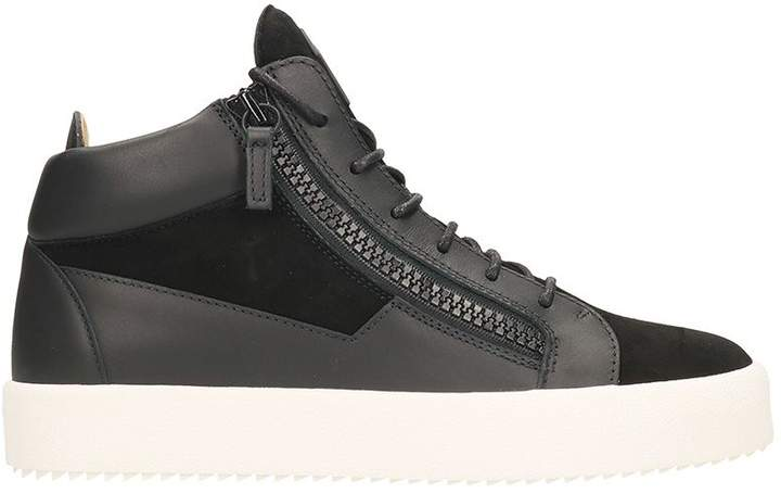 Giuseppe Zanotti Kriss Black Leather And Suede Mid Sneakers