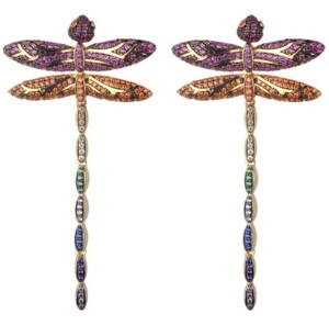 Noir Mutli-Colored Cubic Zirconia Dragon Fly Stud Earring