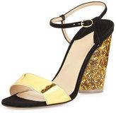 Paul Andrew Parker Tie-Front Glitter-Heel Pump, Black/Gold