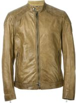 Belstaff leather zip jacket - men - Cotton/Leather/Viscose - 52