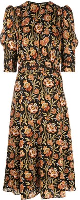 Derek Lam floral print puff sleeve midi dress
